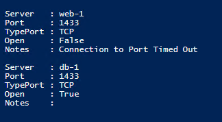 The information above for port 1433 (SQL) is visible after running the script and pressing F5.