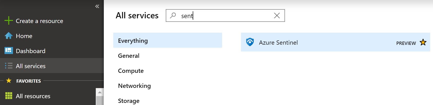 In this screenshot, All Services is selected, and then a search for Sentinel is displayed.