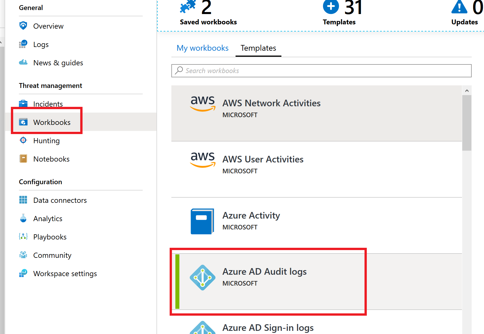 In this screenshot, Dashboards has been selected and the Azure AD Audit Logs dashboard has also been selected.