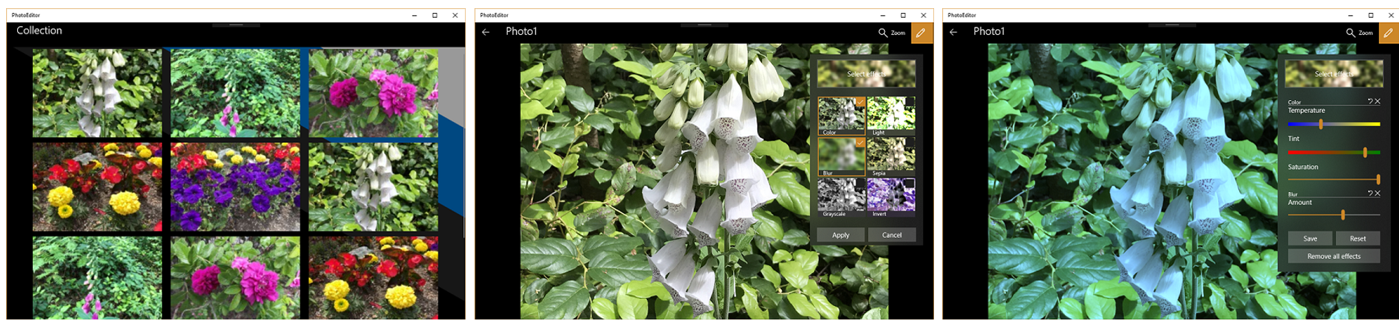 PhotoEditor sample showing the image collection page, editing page, and editing controls