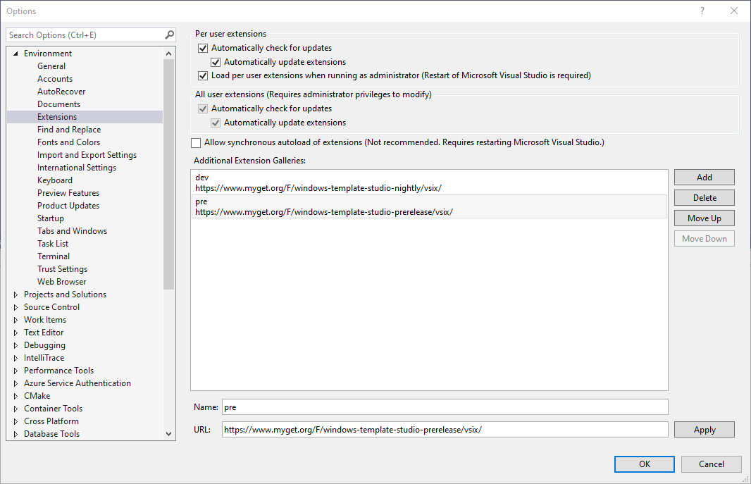 Configure Additional Extension Gallery