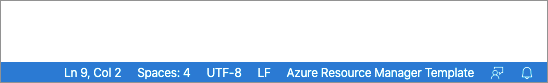 Image showing that the language type has changed to Azure Resource Manager Template
