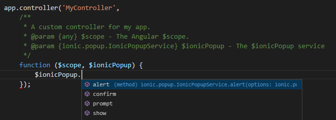 IntelliSense for Angular and Ionic services