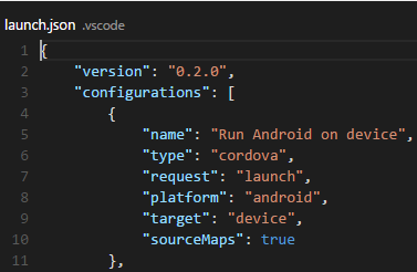 Cordova launch configuration file
