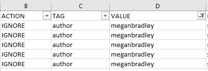 shows action, tag, and value columns filtered on value