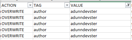 shows new values for action and value