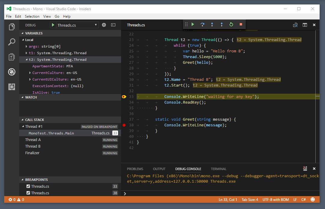 vscode-mono-debug by Microsoft