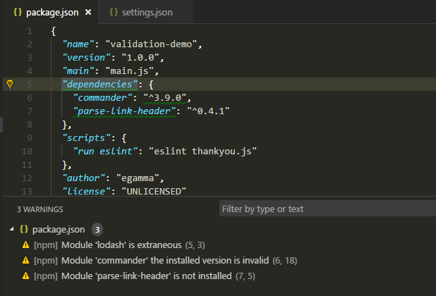 package.json validation