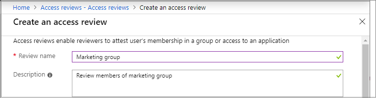 Create an access review - Review name and description