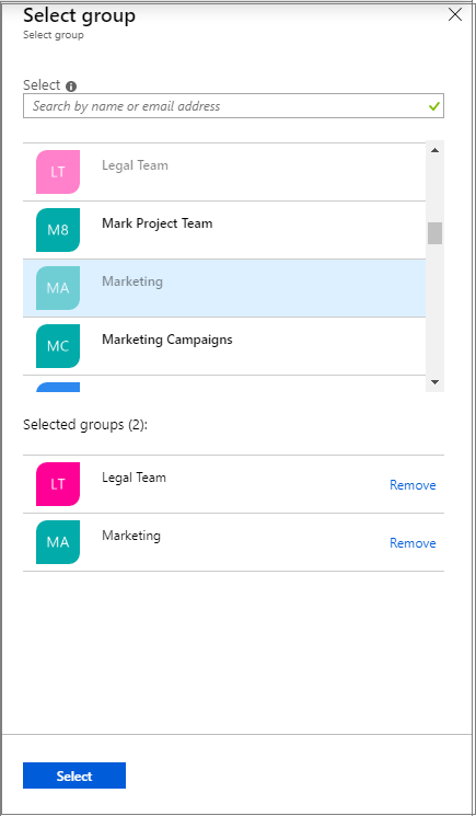 Create an access review - Select group
