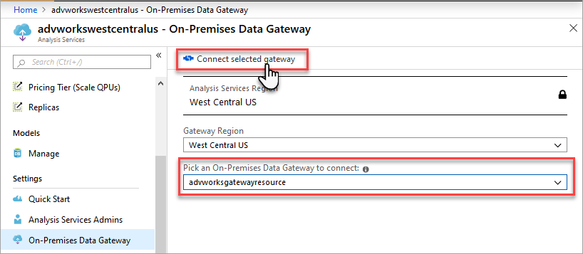 Connect server to gateway resource