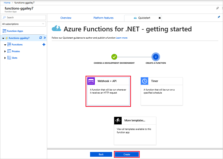 Functions quickstart in the Azure portal.