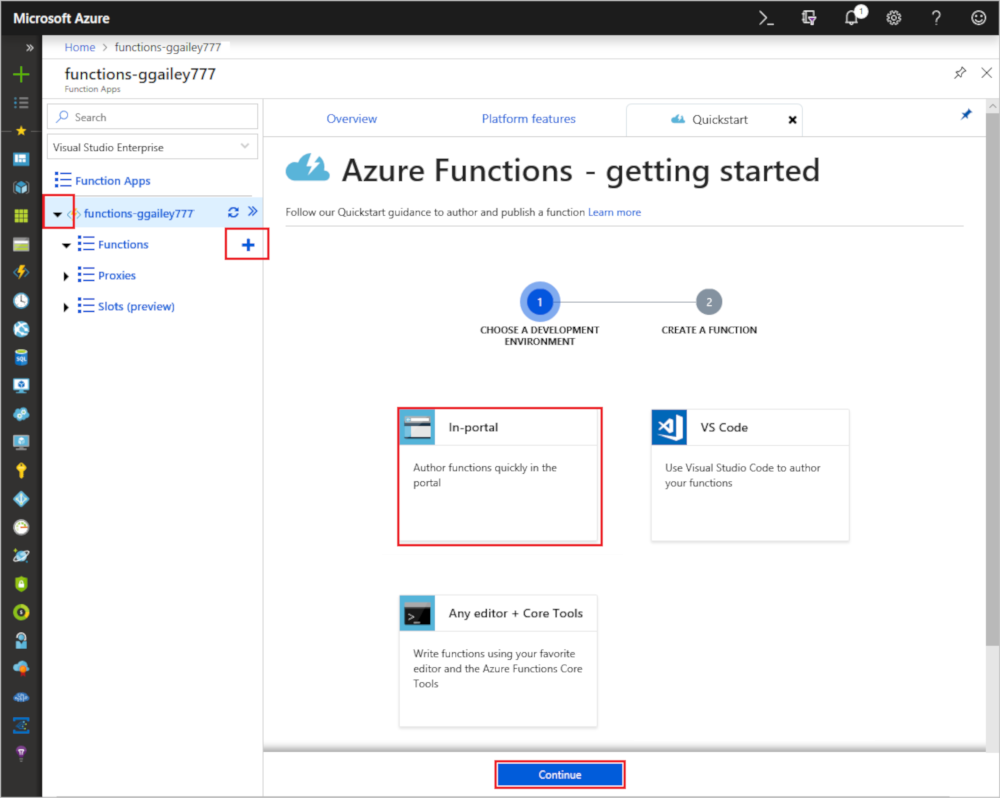 Functions quickstart page in the Azure portal