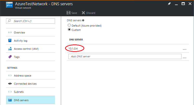 Azure test network