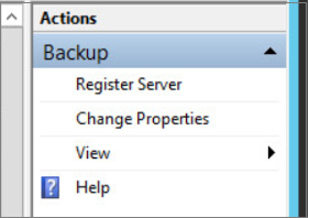 Screenshot of the Azure Backup MMC snap-in option to change properties