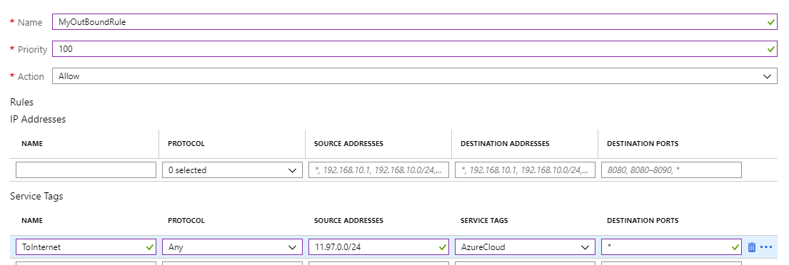 Outbound connection with Azure Firewall