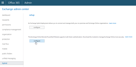 Download the Exchange Online PowerShell Module from the Hybrid tab in the EAC