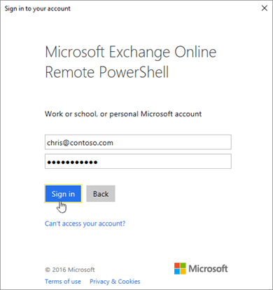 Enter your password in the Exchange Online Remote PowerShell window