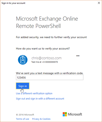 Enter your verification code in the Exchange Online Remote PowerShell window