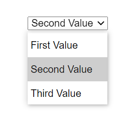 A select control displaying an open listbox with 3 options