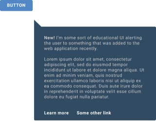 An explanatory popup with links pointing to a button