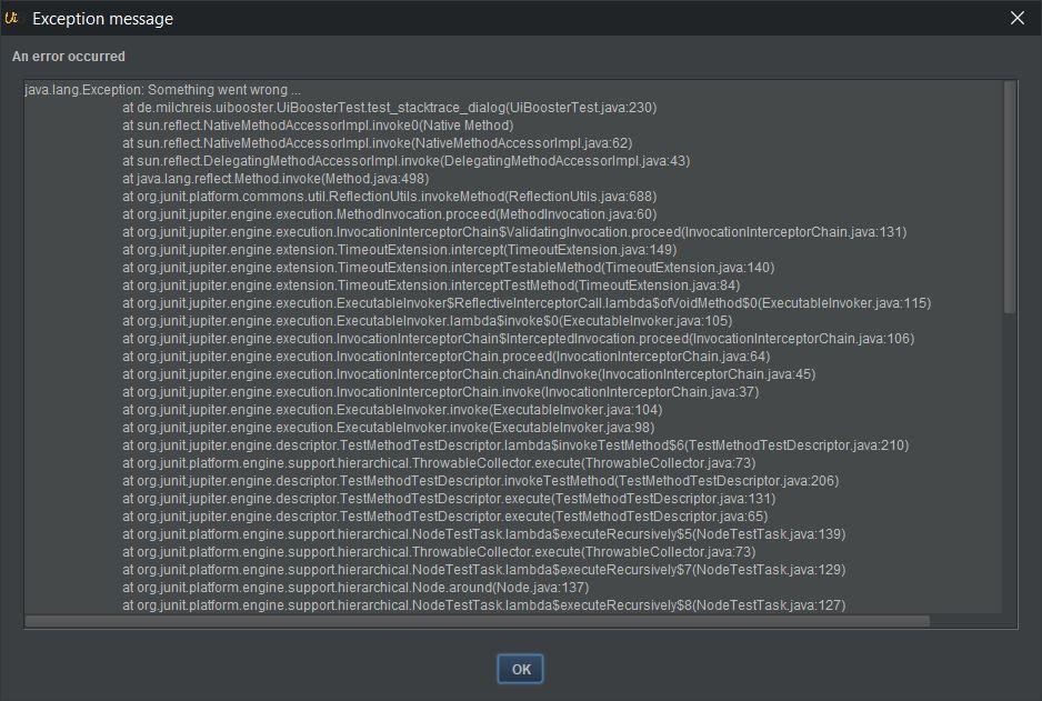 screenshot exception dialog