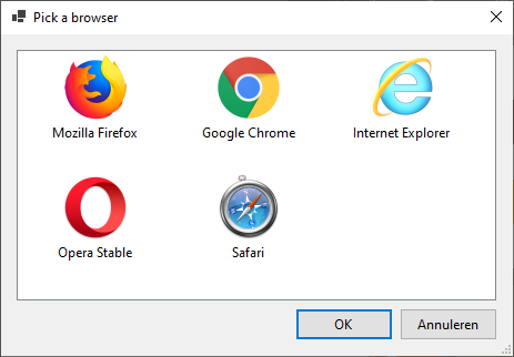 Dialog that lets the user pick from the installed webbrowsers, including Microsoft Edge