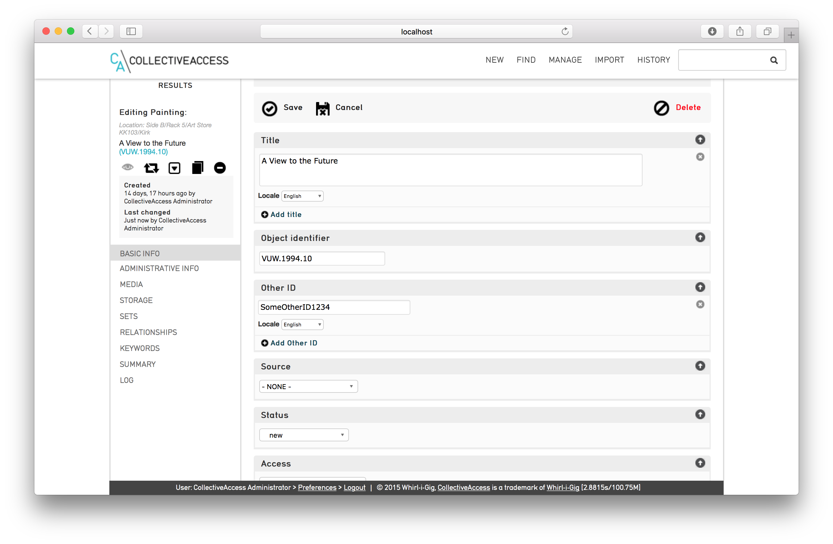The Other ID field has been added to the list of metadata elements to be displayed on the standard object editor screen