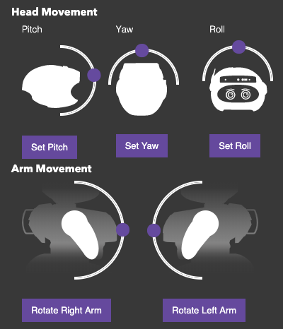 Command Center head and arm movement controls