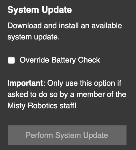 Perform system update button