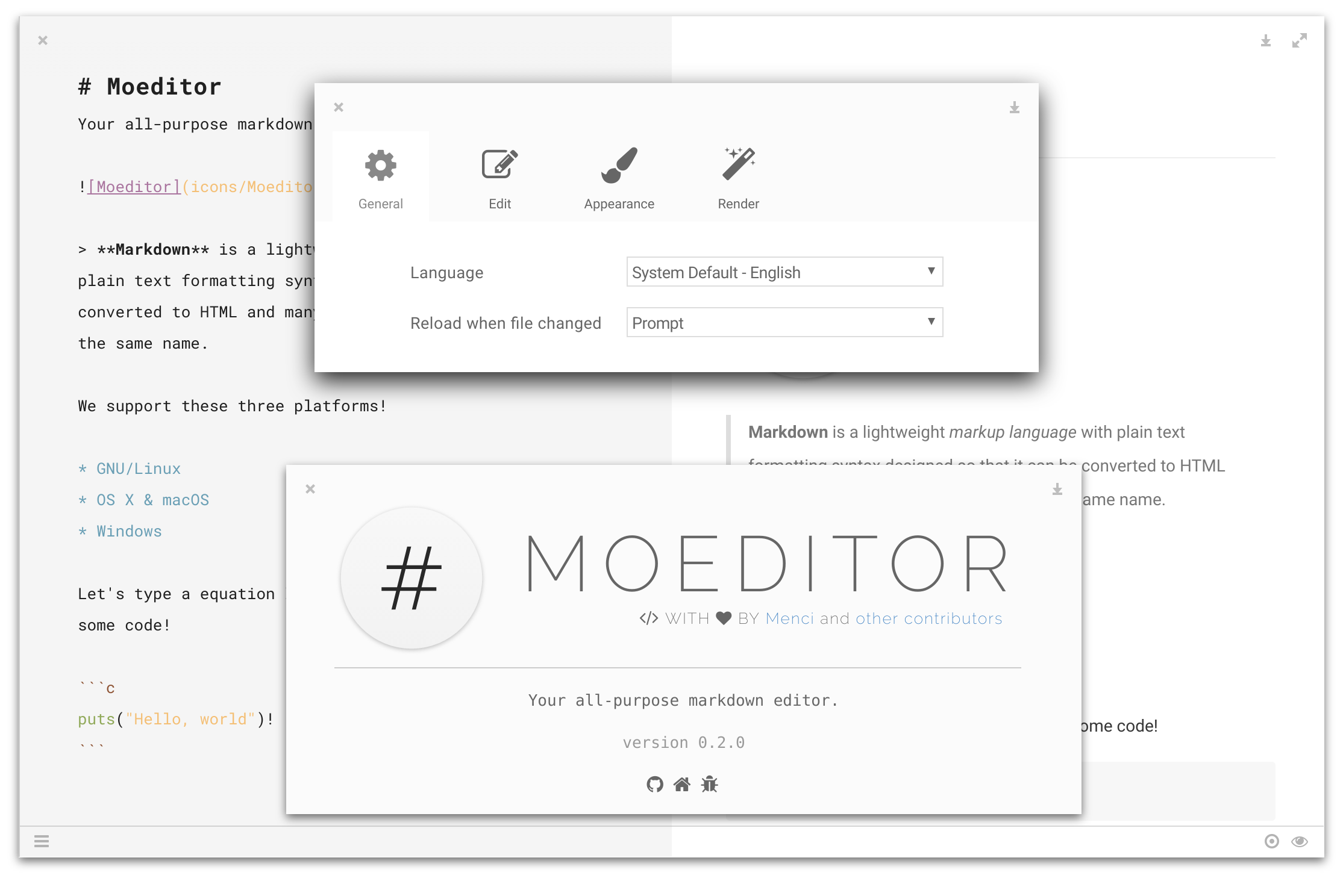 Moeditor About