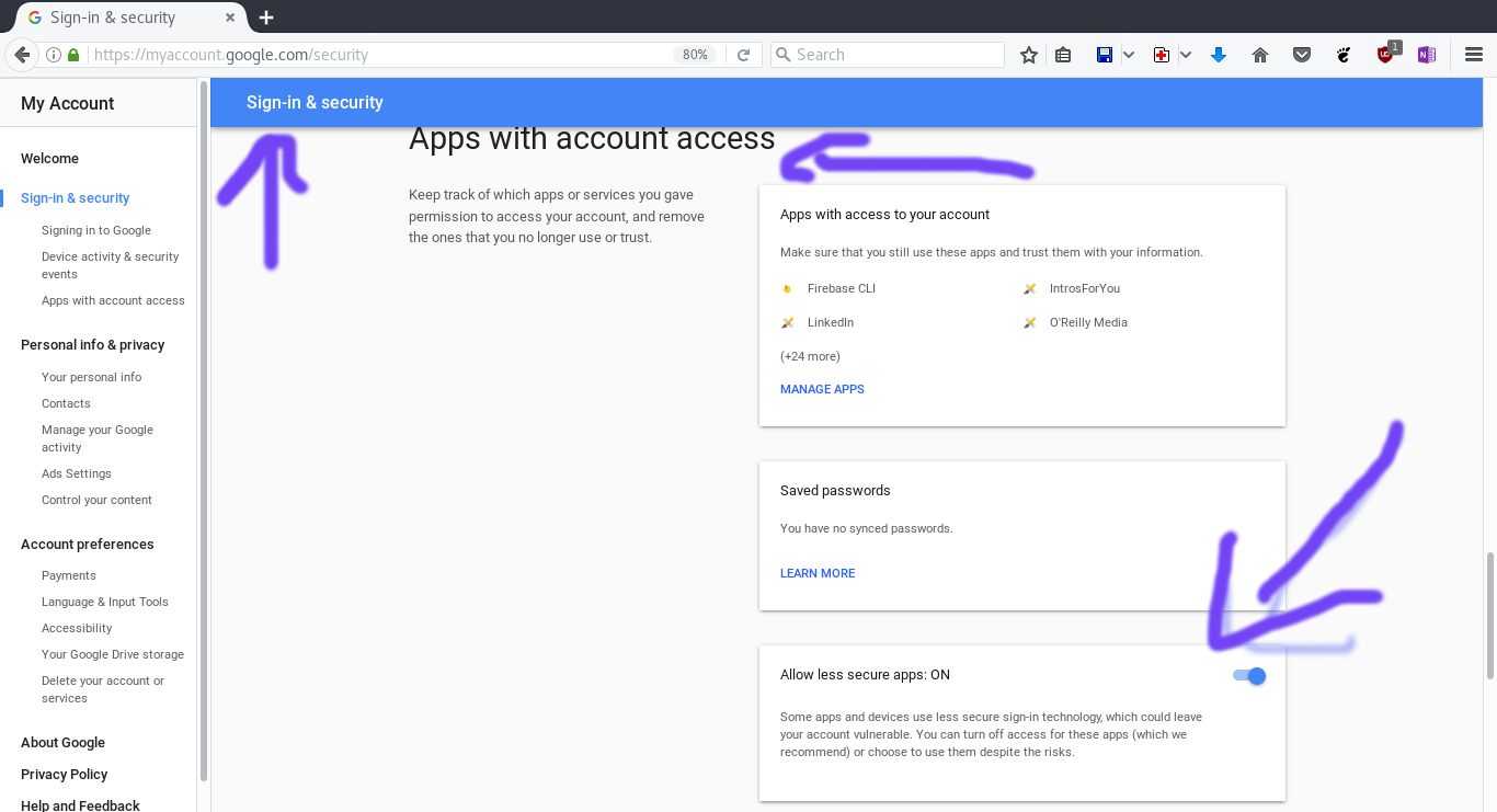 allow less secure apps google