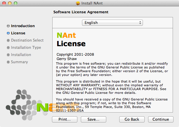 A screenshot of the NAnt installer