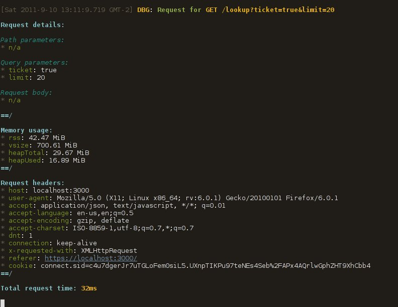 Sample node-logging output
