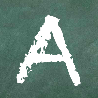 A green chalkboard with a large capital A in the center