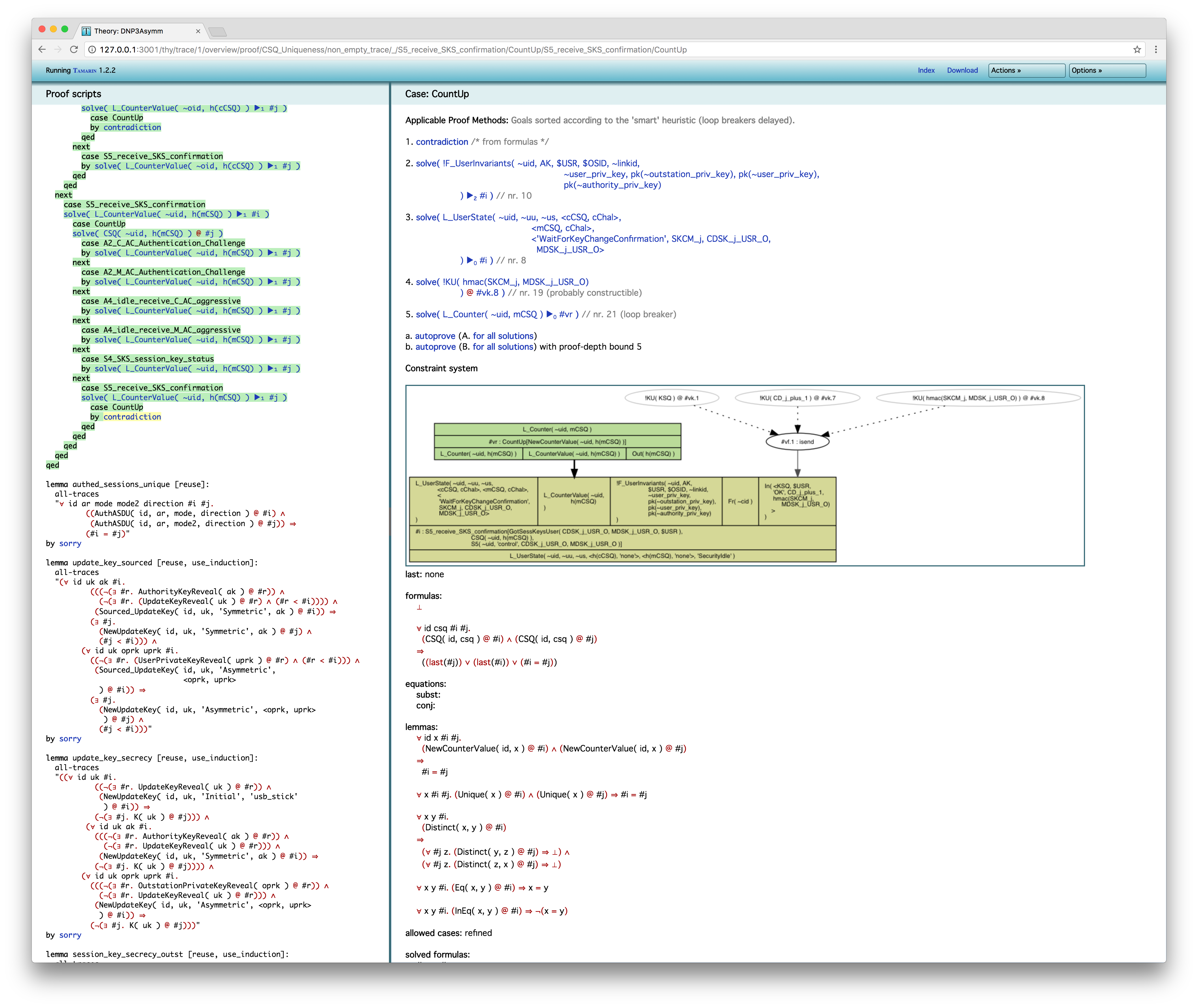 Tamarin Prover screenshot