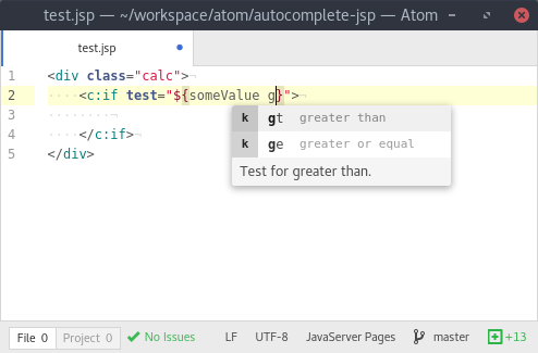 Screenshot of autocompletion for keywords