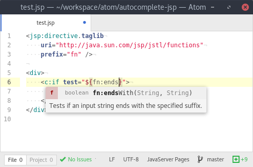 Screenshot of autocompletion for el-functions