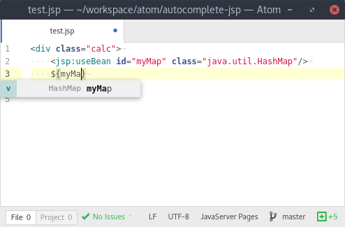 Screenshot of autocompletion for variables
