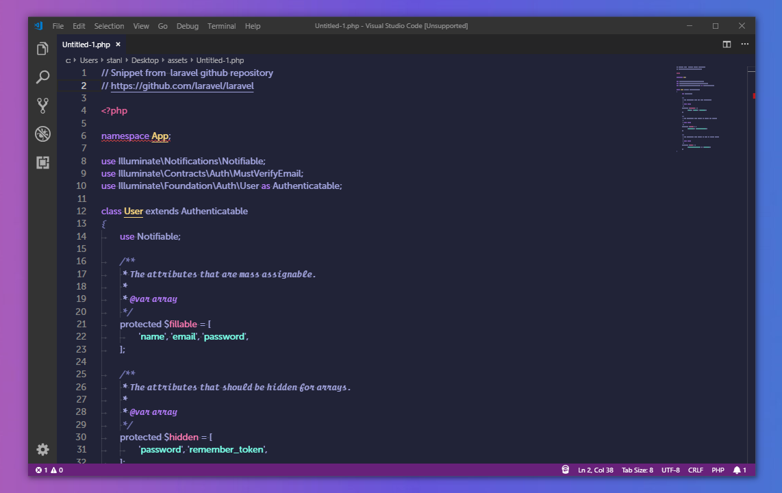 Screenshot of PHP