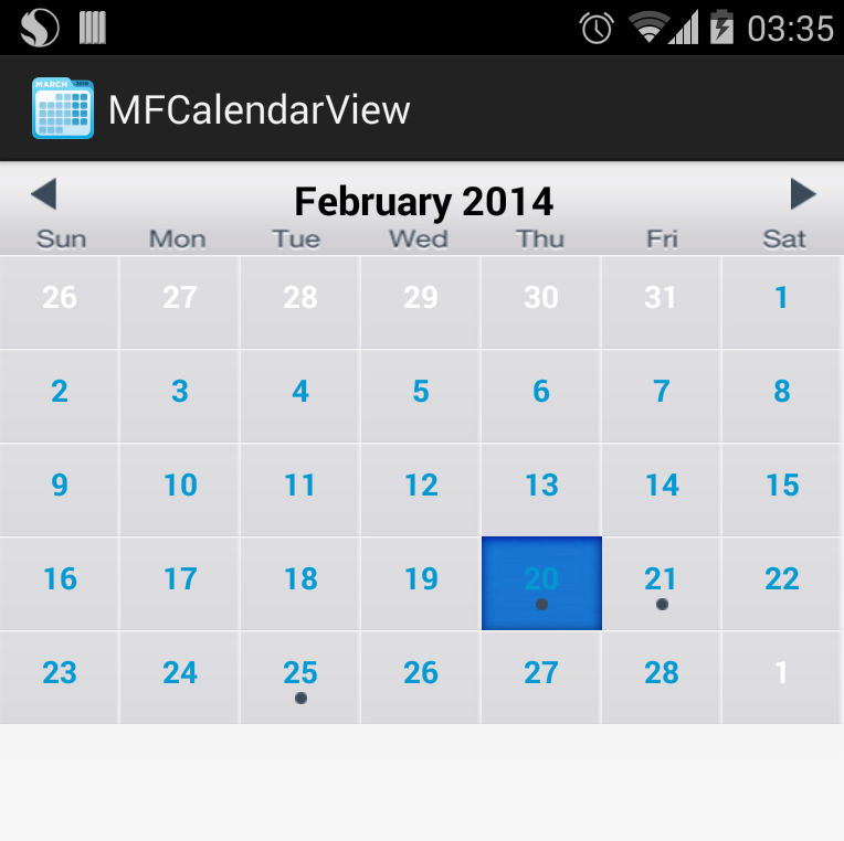Calendar Layout Android : The android arsenal date time pickers mfcalendarview