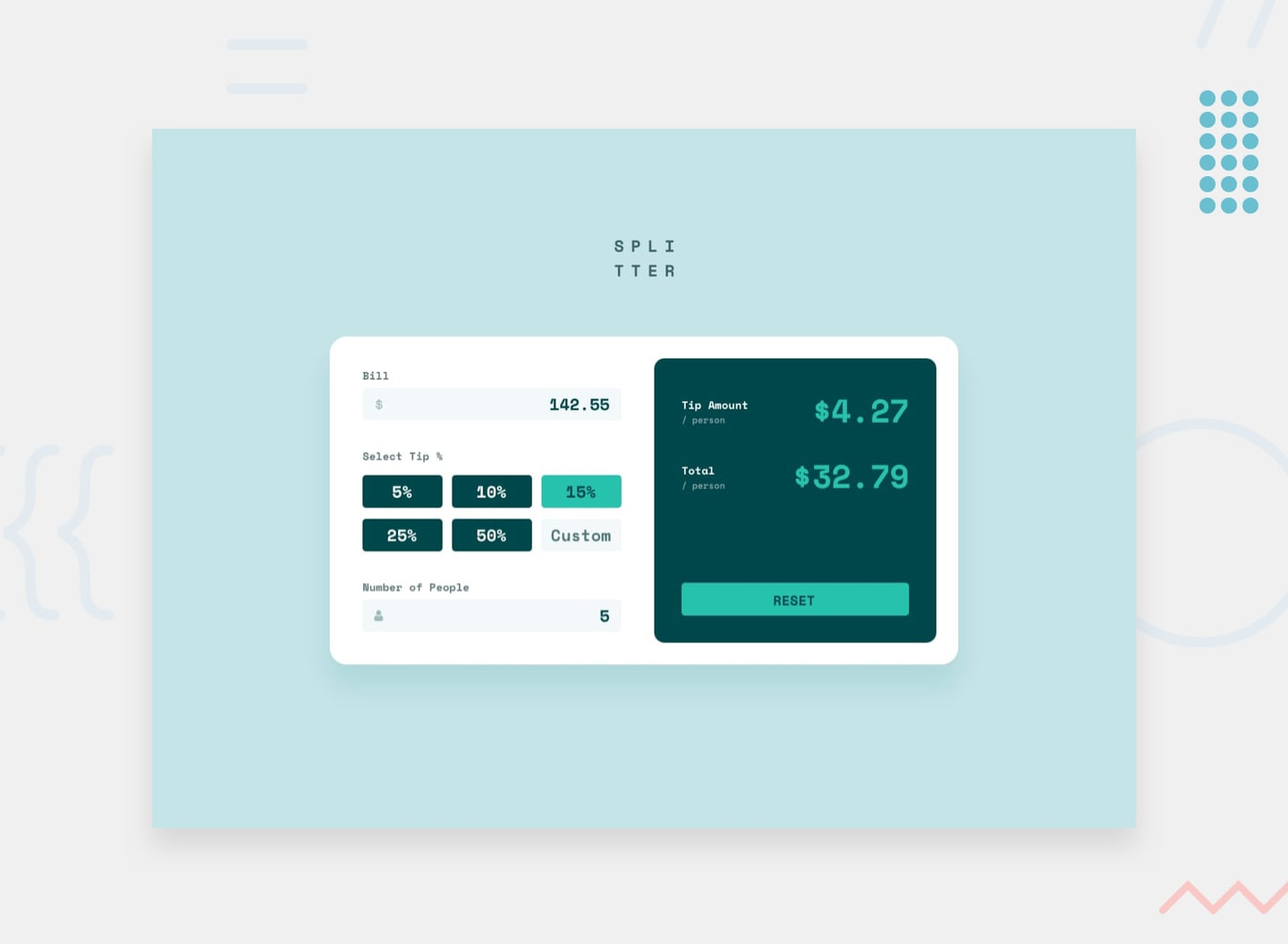 Design preview for the Tip calculator app coding challenge