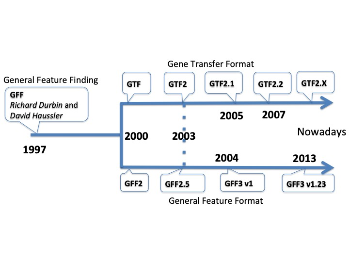 Timeline of the different format