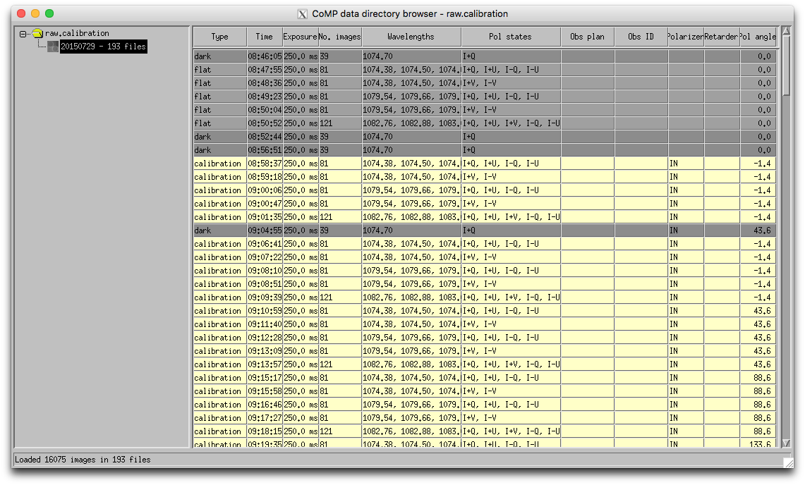 Raw calibration directory