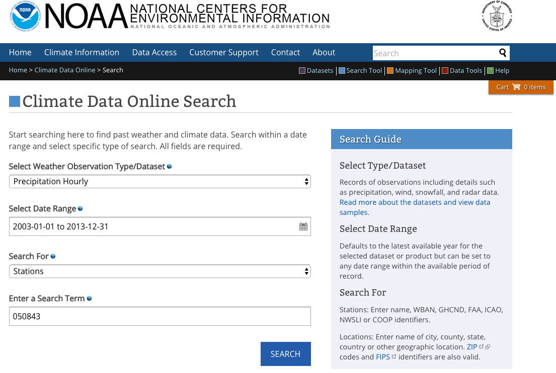 Data search interface of the selected Boulder, CO site, which allows the user to select the Weather Observation Type/Dataset, date range, and station identifier.