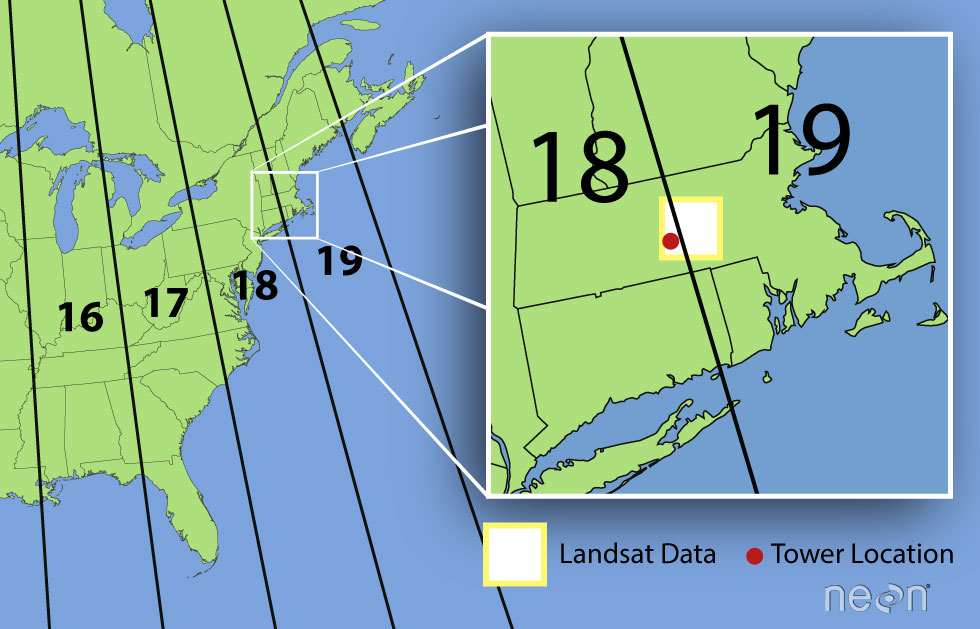 Image of the UTM zones of with United States with an inset image of NEON's Harvard Forest tower location demonstrating it is in UTM zone 18.