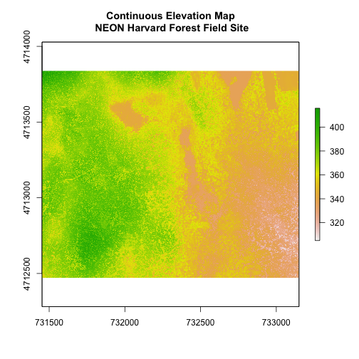 Continuous elevation map of NEON's site Harvard Forest