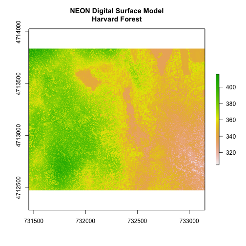 Digital surface model showing the elevation of NEON's site Harvard Forest