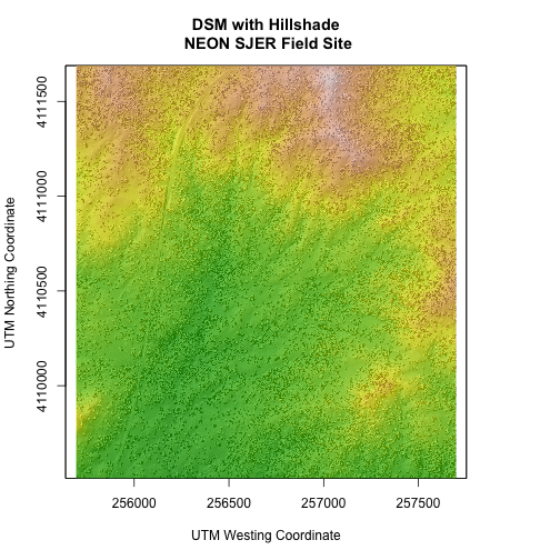Digital surface model overlaying the hillshade raster showing the 3D elevation of NEON's site San Joaquin Experiment Range