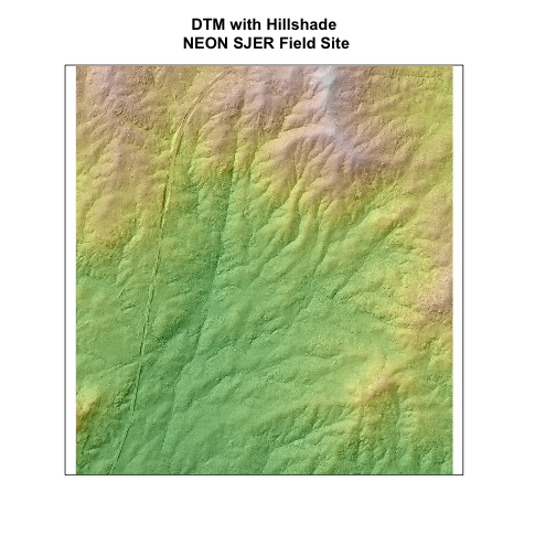 Digital terrain model overlaying the hillshade raster showing the 3D ground surface of NEON's site San Joaquin Experiment Range